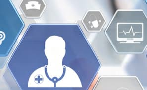Floating hexagons with various healthcare symbols